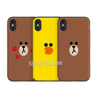 (包郵)🇰🇷LINE Friends Brown Sally Card Mirror Case 熊大莎莉卡鏡子手機殼