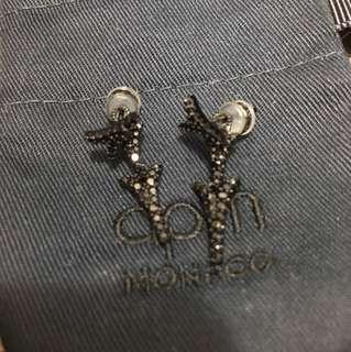 APM Monaco Black Silver Dragon Tail Under Lobe Earrings