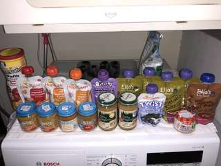 17 Baby food jars and pouch, mostly organic