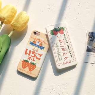 iPhone Case 日系 明治 草莓牛奶 夏天 包左右2邊 磨沙 保護殻