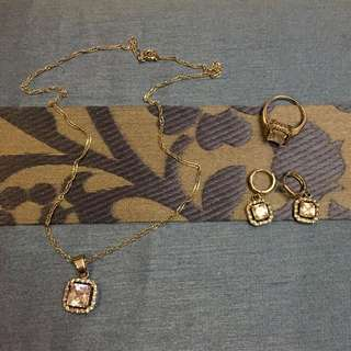 Silver set Earrings, Necklace and Ring