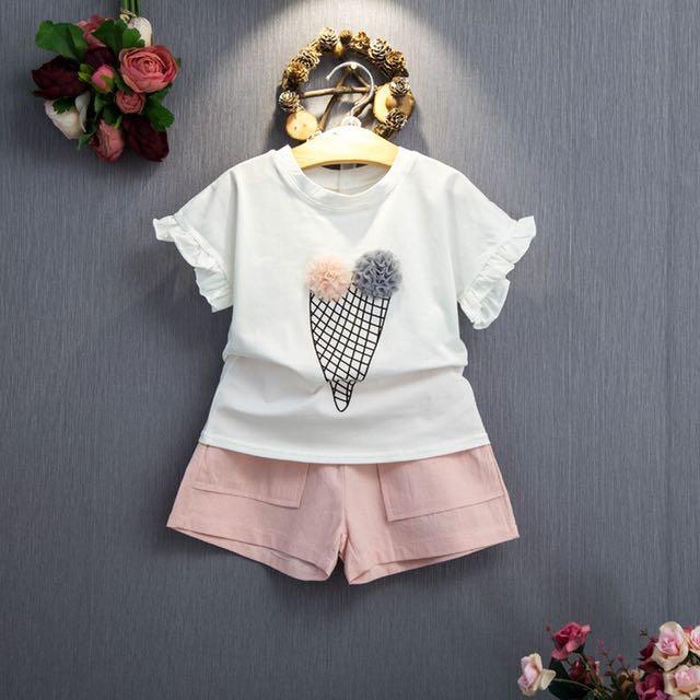 2 Piece Set / Ice-Cream Top & Pink Pant