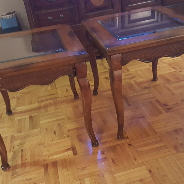 2 wooden tables for $40