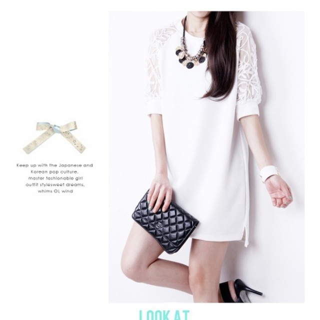 ▪️蕾絲袖白洋裝