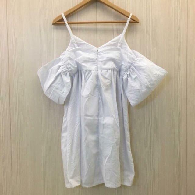 細肩帶露背洋裝(白)