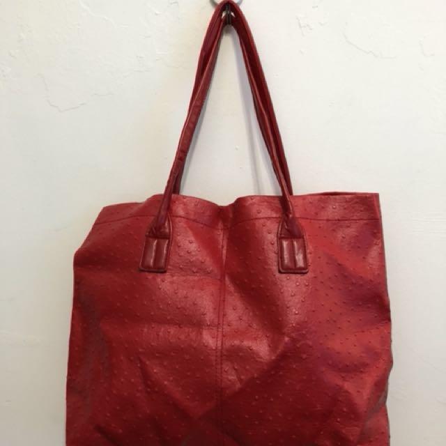 仿鴕鳥皮革,時尚紅手提袋