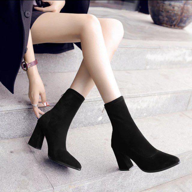 歐美最新熱燒款貼身彈力高跟襪靴