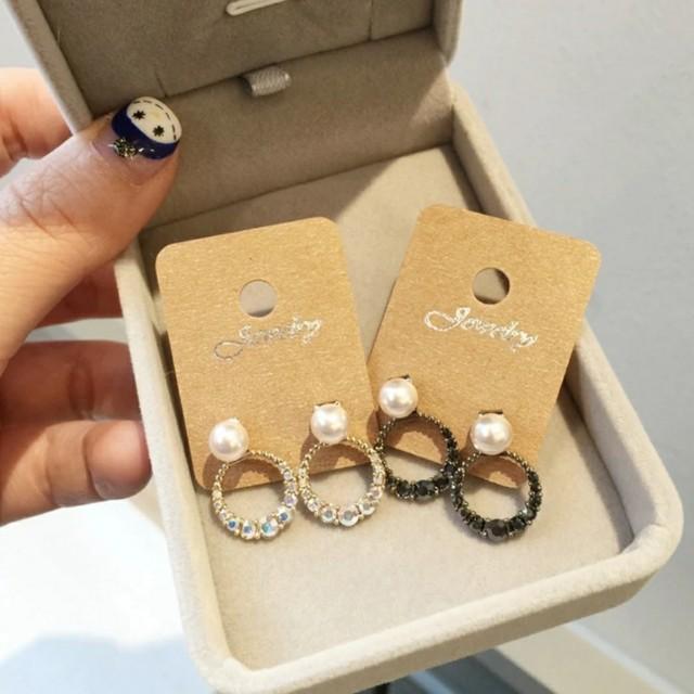 韓國空運亮鑽珍珠防過敏耳環