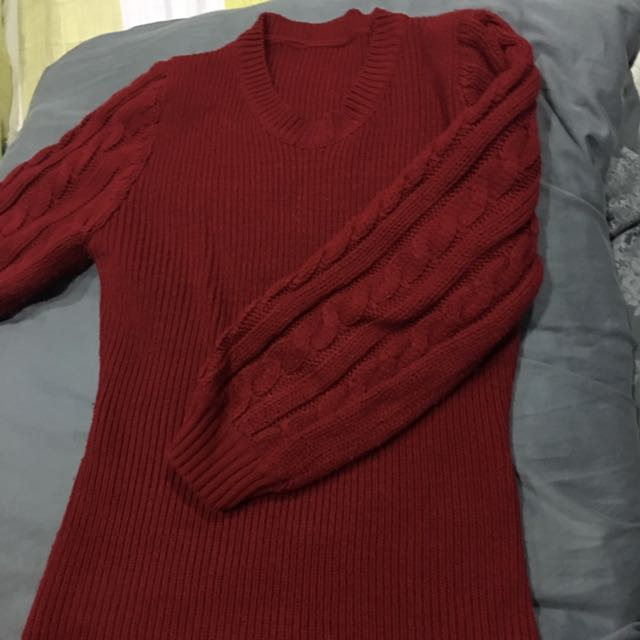 紅色羊毛混紡毛衣