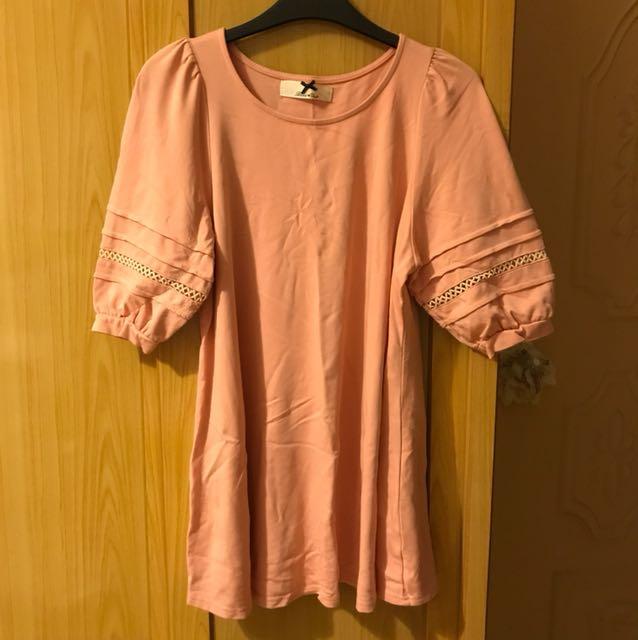燈籠袖傘狀上衣 粉橘色