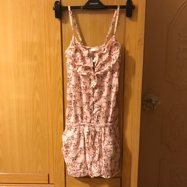 粉紅碎花荷葉領 細肩帶 連身短褲