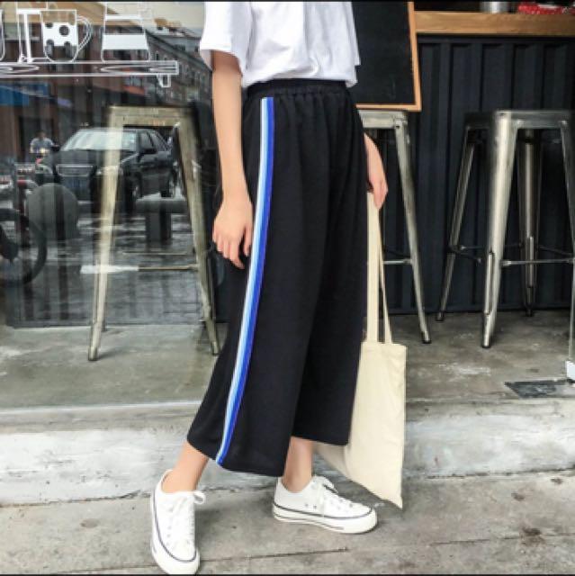黑白條紋 薄款 休閒褲