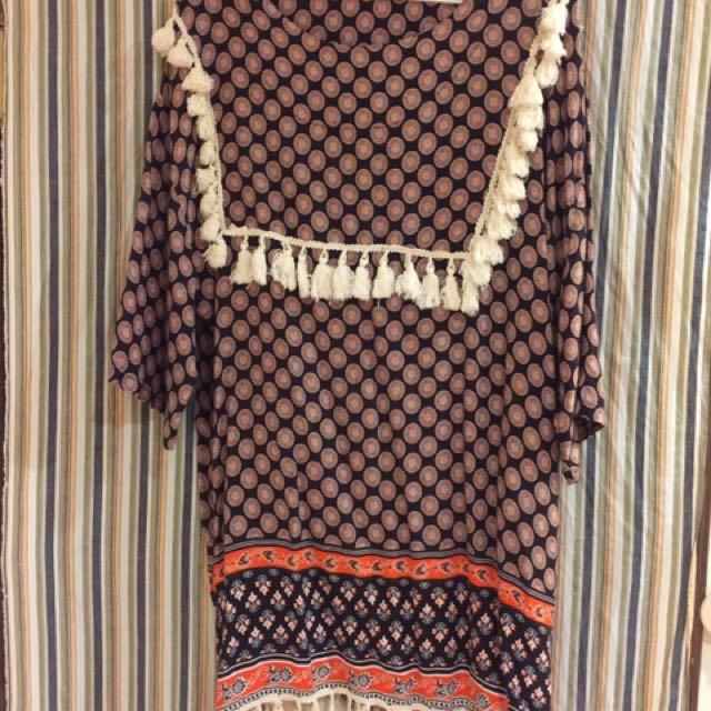 泰國買回 全新 圖騰流蘇洋裝 #超取再七折
