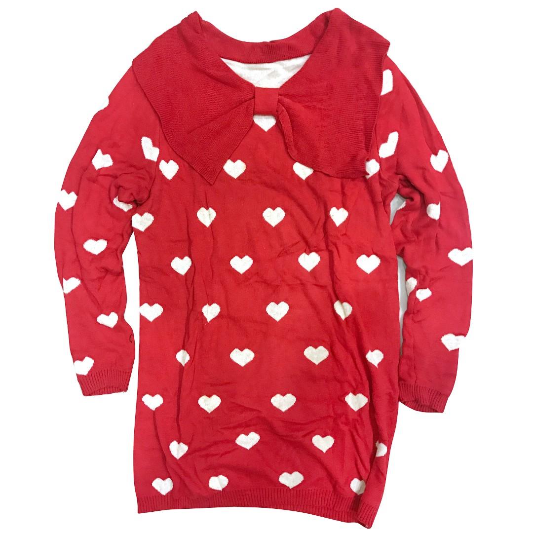 超可愛 💕💕💕💕 蝴蝶結領 愛心 毛衣 長版毛衣 針織
