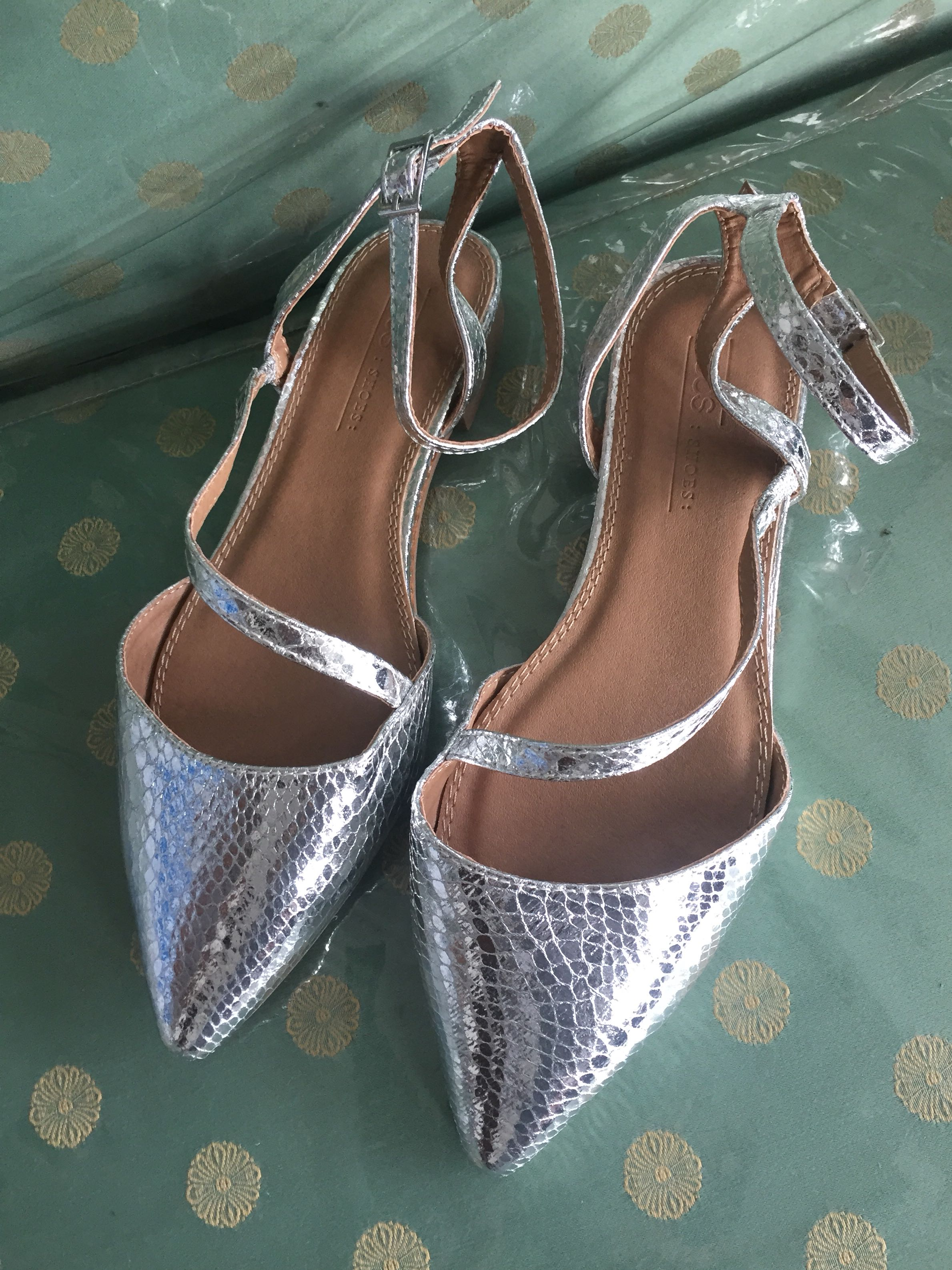 Asos Pointy Ankle Strap Silver Shoes