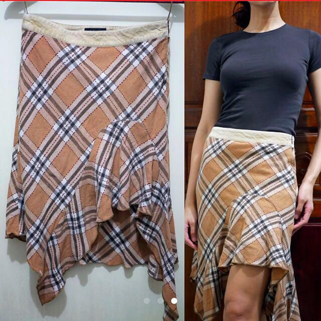 Auth💯Mango in Burberry Inspired Checkered Skirt