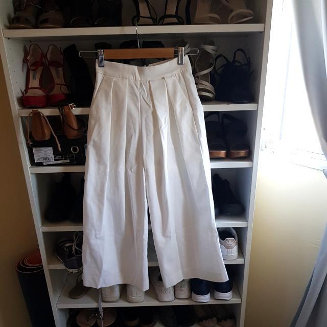 Bardot White Pleated Cutlettes Pants Highwaisted