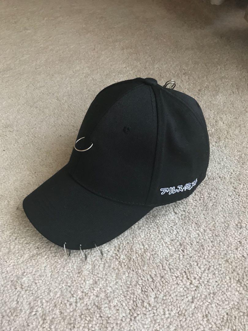 Black cap 🧢 silver hoop rings