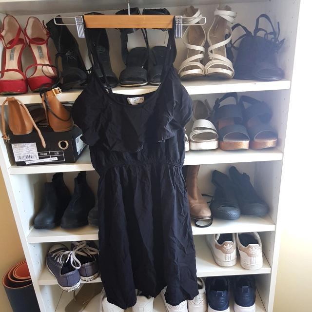 Black Frill Front Summer Short Dress