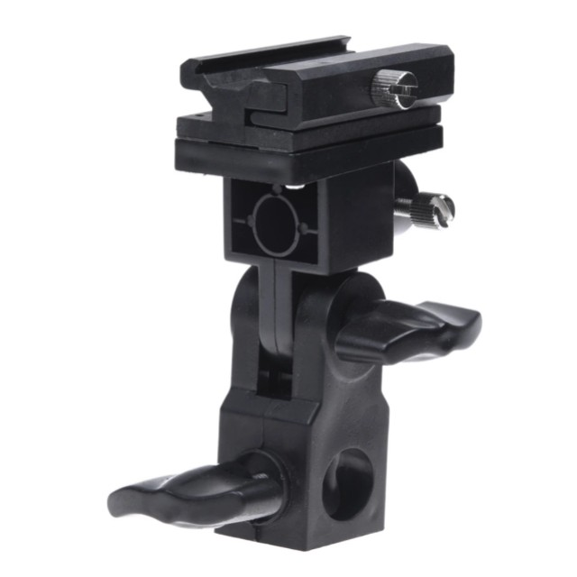Black Swivel Flash Light Stand Mount Bracket Hot-Shoe Umbrella Holder Type B