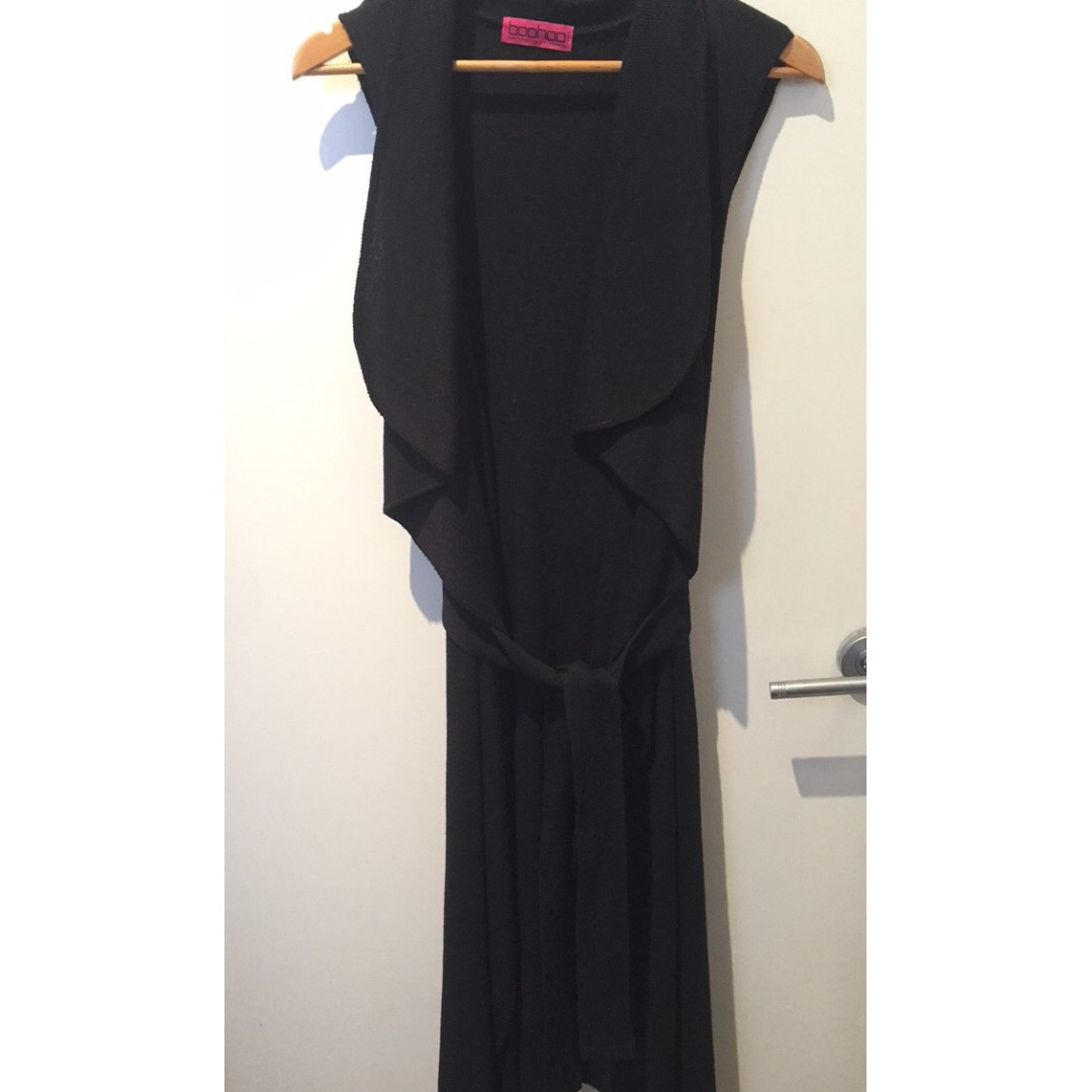 Black Waterfall Belted Duster