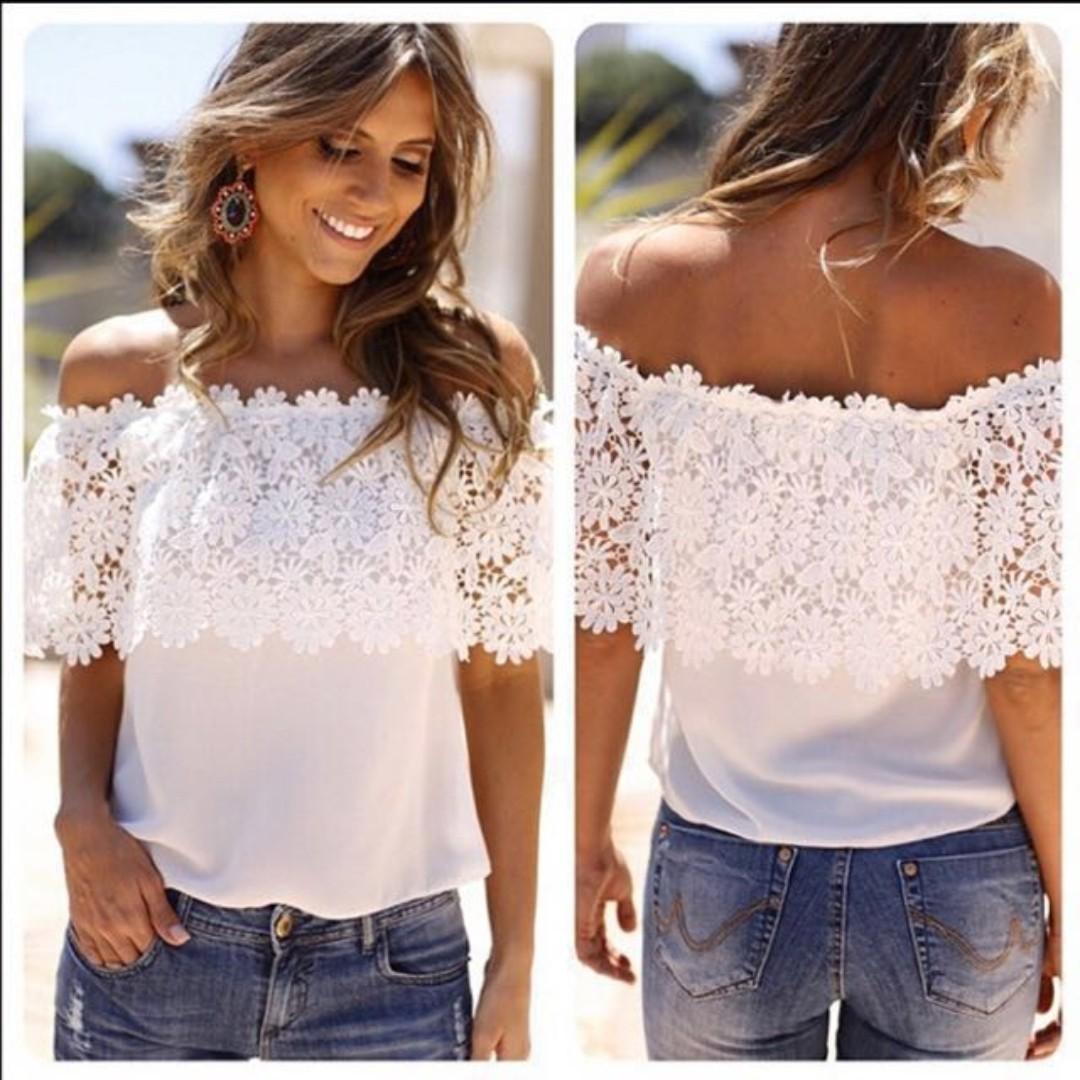 696cdf6915467 Super Sales! 3 for  11! BN White Lace Top   off shoulder