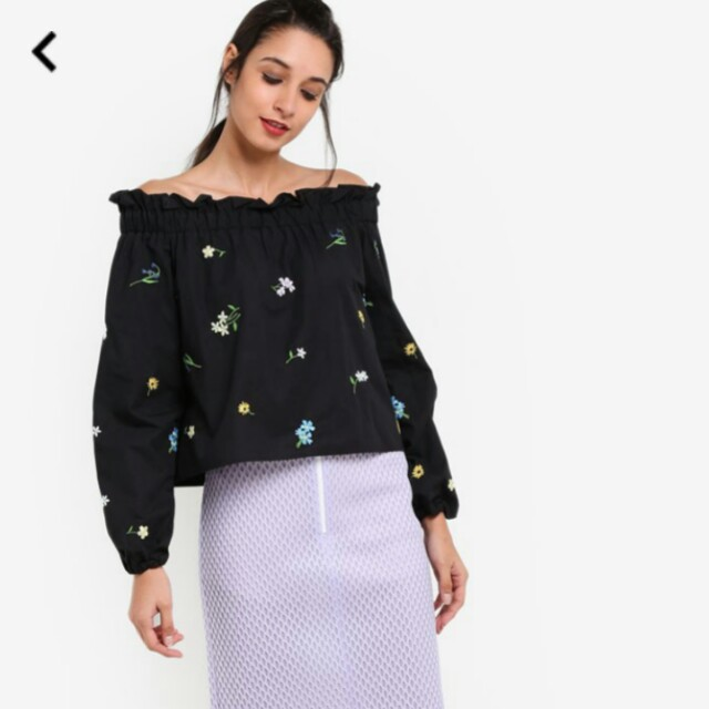 75f9b8c2c60dd BNWT TOPSHOP Floral Embroidered Bardot Top