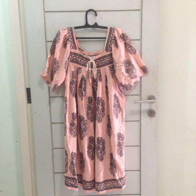 Bohemian Tunic Long Dress Tied Up Pink