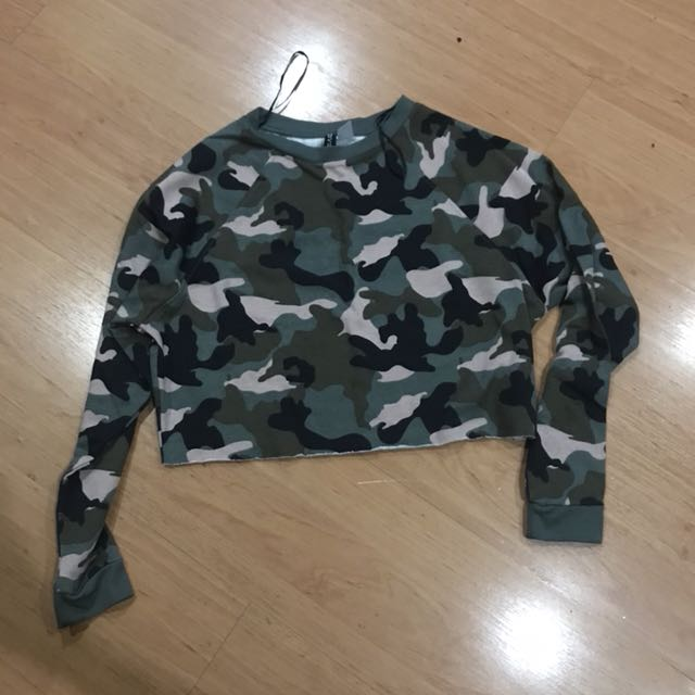 c73b0f82c49 Camo Cropped Pullover, Women's Fashion, Clothes, Tops on Carousell