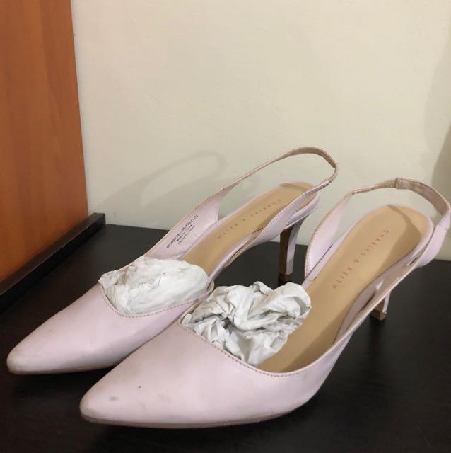 charles & keith court heels pastel purple lavender 37