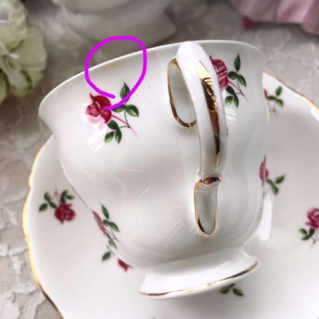 英國Colclaugh 浪漫迷你紅玫瑰花描金骨瓷三件式杯盤組B