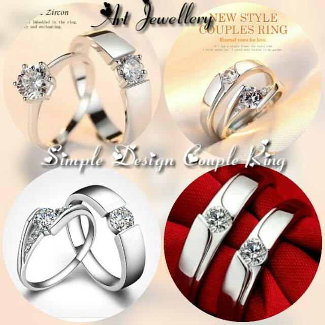 ddc47081cd Couple Ring Simple Design Silver 925, Women's Fashion, Jewellery on ...