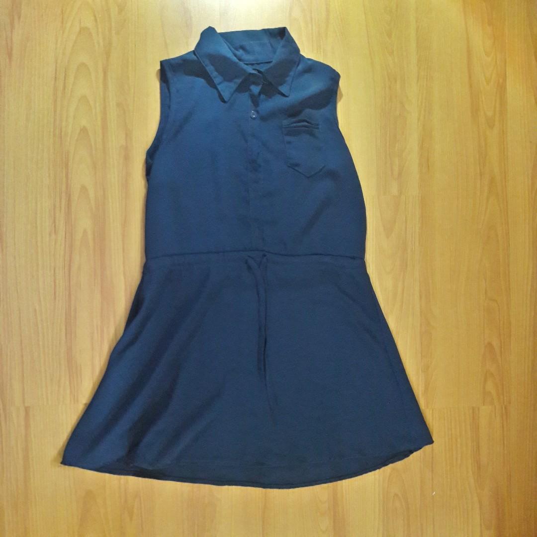 Dark Blue Sheer Dress