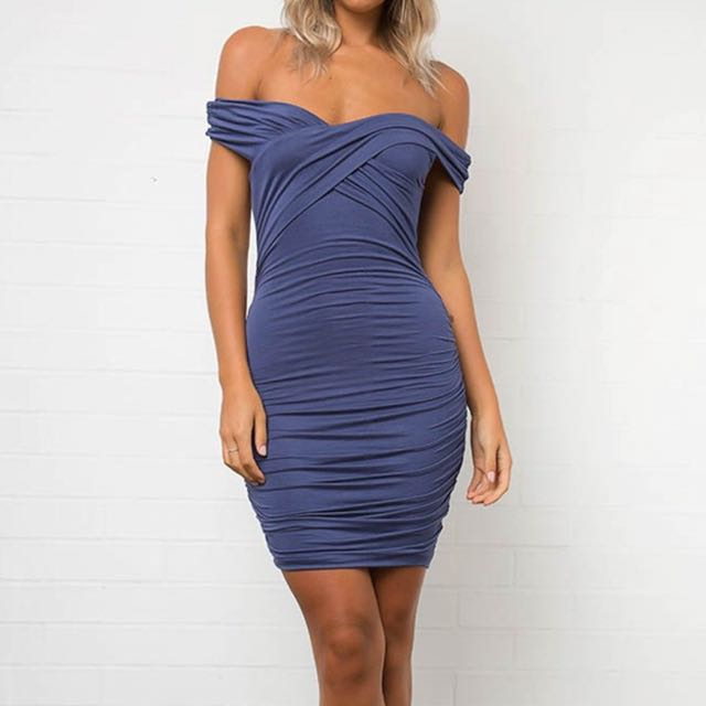 Dolly Girl Fashion Blue Off Shoulder Dress