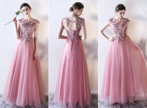 Evening Gown In Blush Peach Color Womens Fashion Clothes Dresses