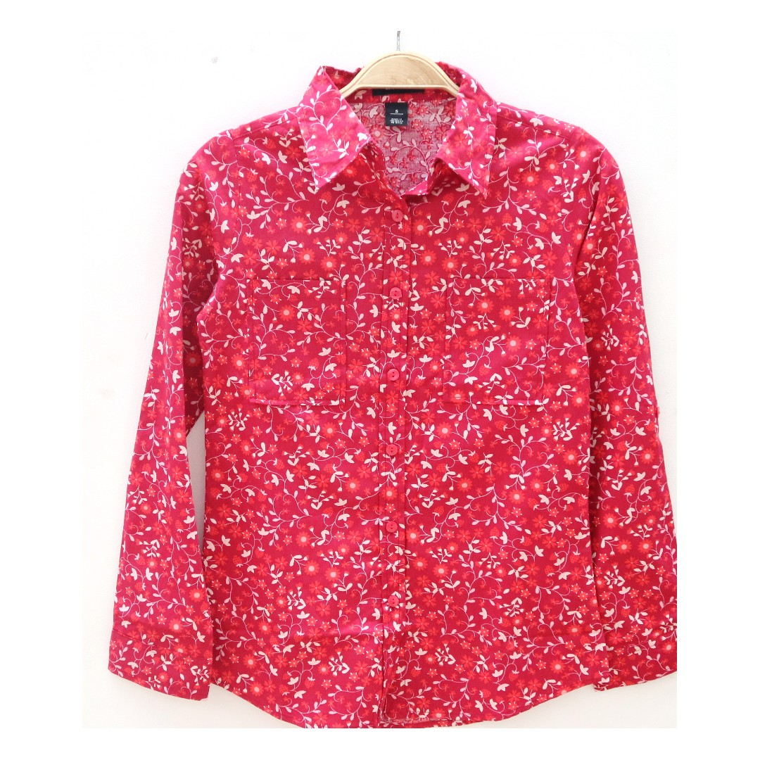 EXPRESS Blouse Red Flower