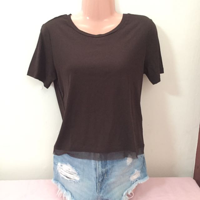 FLASH SALE -- Brown Top with Lace Details