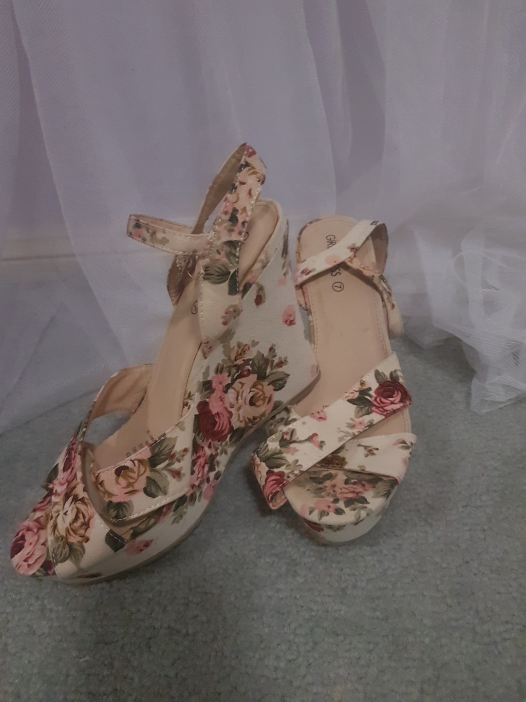 Floral Strappy Wedges