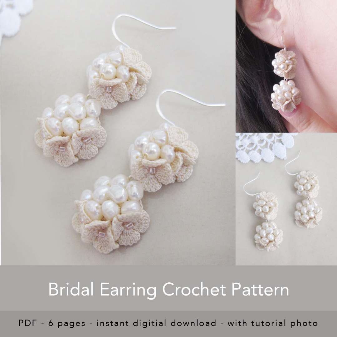 Flower Bridal Earring Crochet Pdf Pattern Pdf Tutorial Crochet
