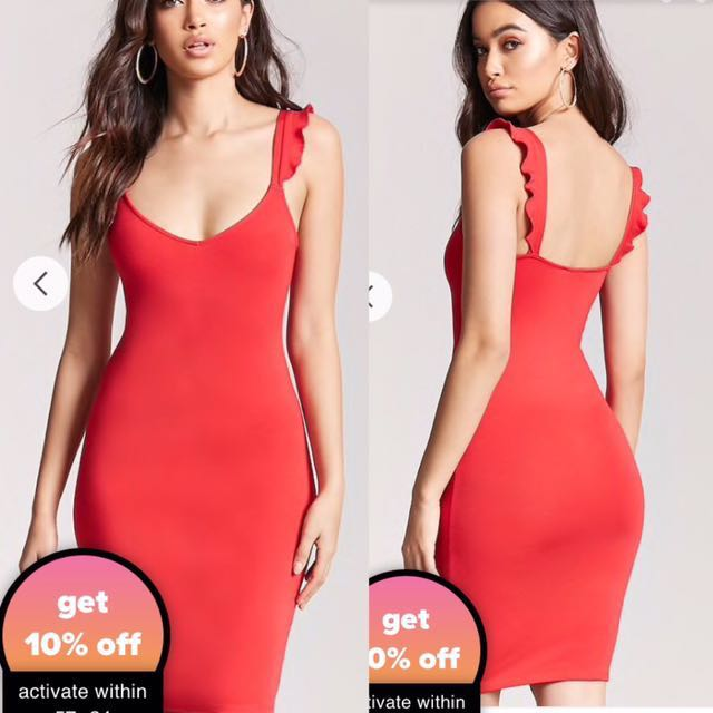 Forever 21 Ruffle bodycon dress(RED only)