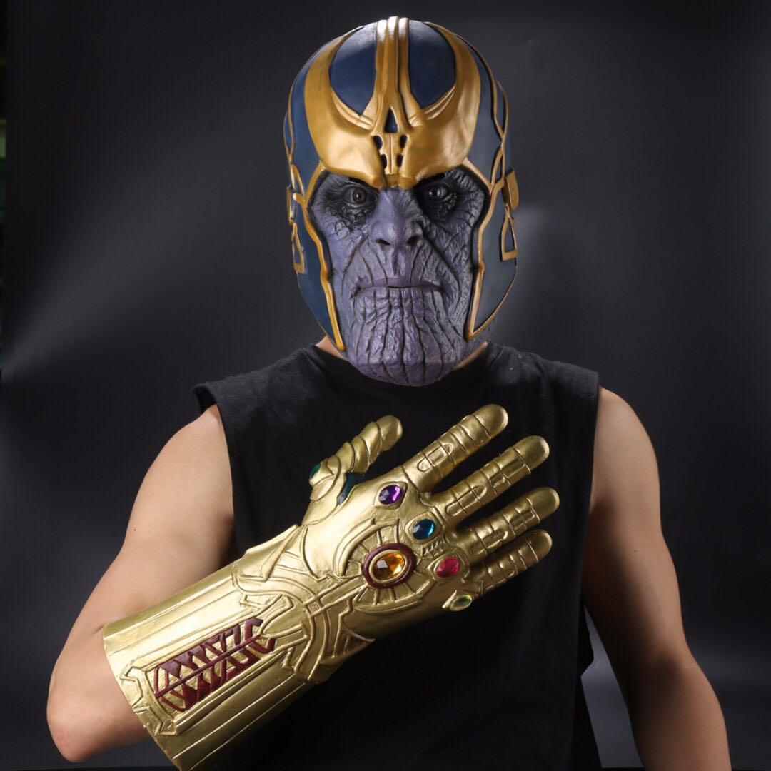Avengers Infinity War Thanos Mask Infinity Gauntlet Thanos Latex Gloves Cosplay