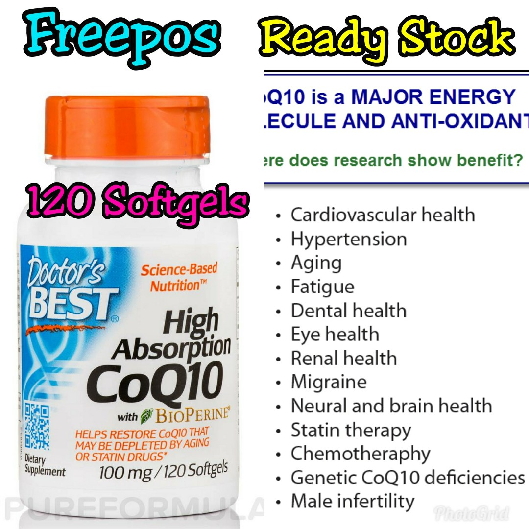 Freepos Doctor's Best CoQ 10 High Absorption With Bioperine 100mg 120 Softgels