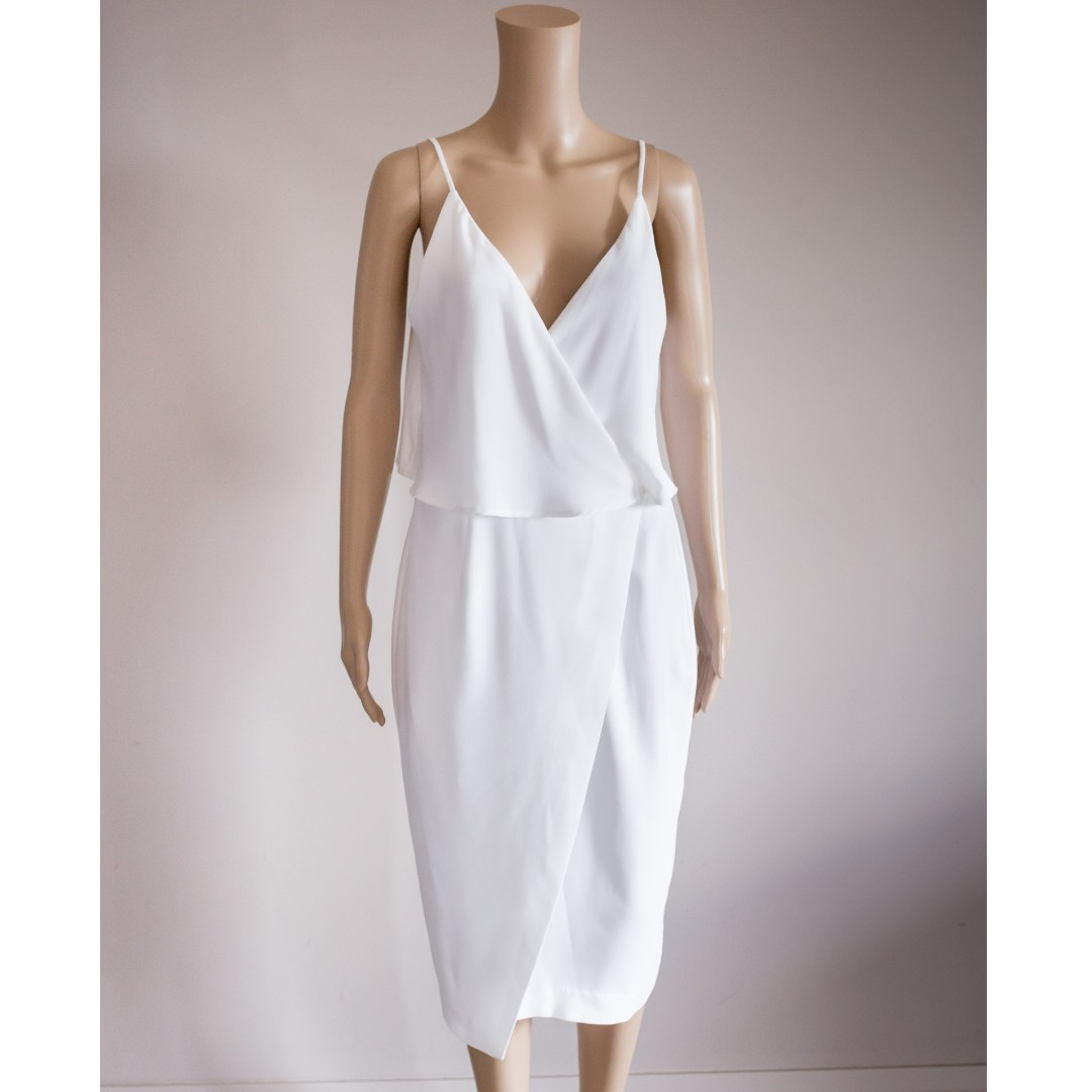 FRENCH CONNECTION white V-neck wrap cocktail dress sz 10