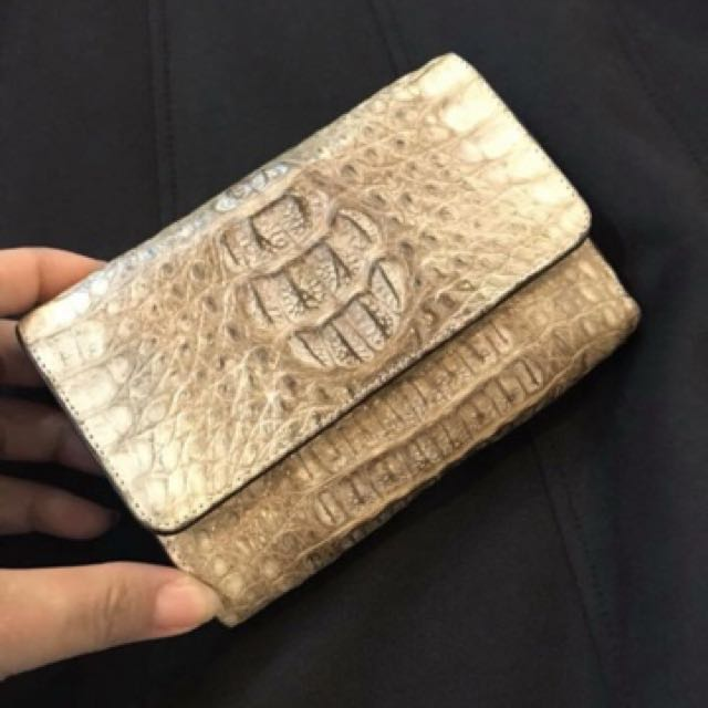 Genuine crocodile leather foldable purse