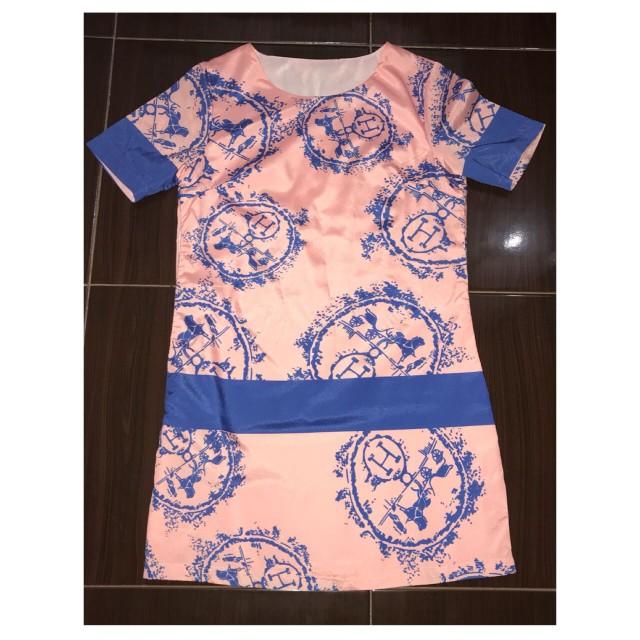 'H' dress pink&blue