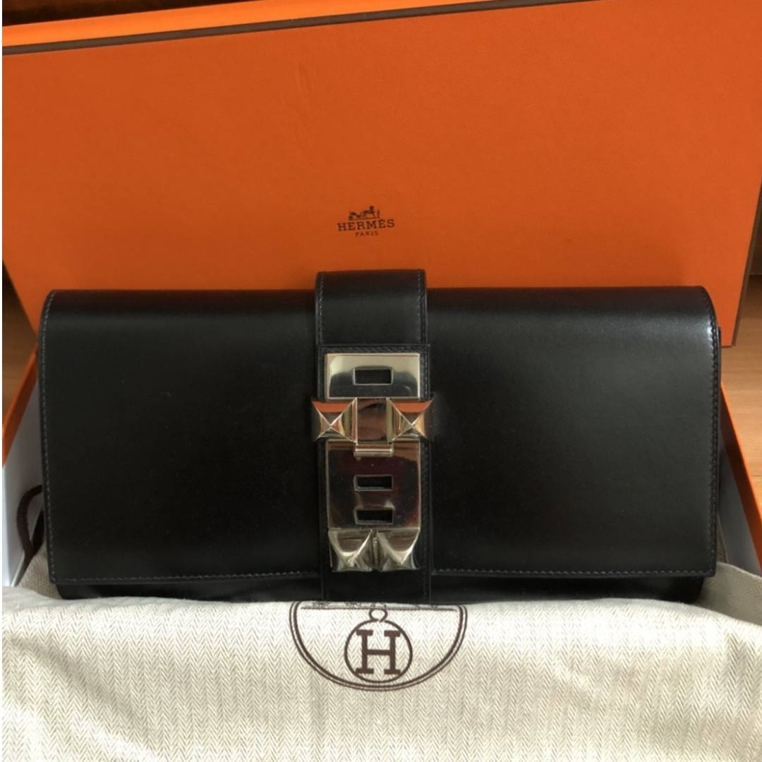 HERMES 29cm box leather palladium medor clutch bag