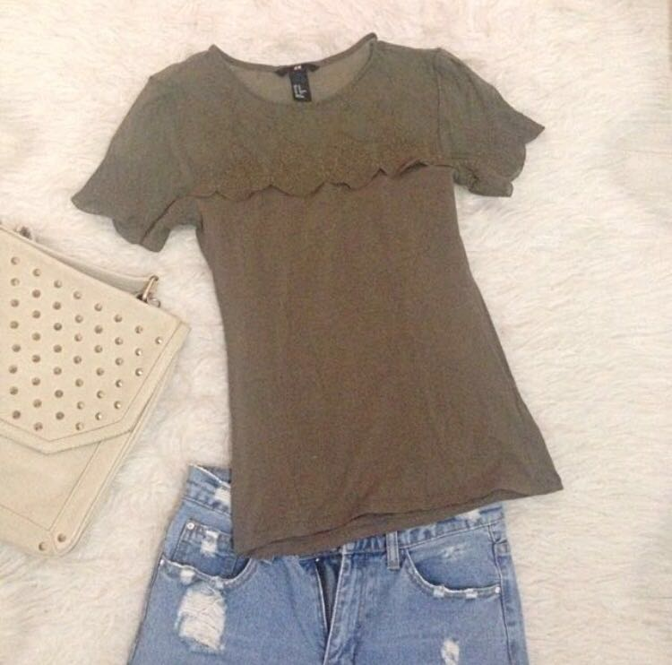 H&M Green Army Lace Top