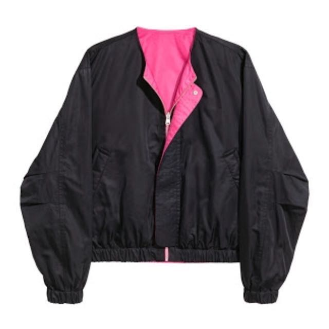 h&m studio 2017 reversible bomber jacket black/pink