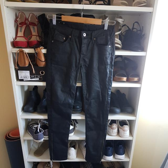 Hnm Wet Slick Leather Look Jeans