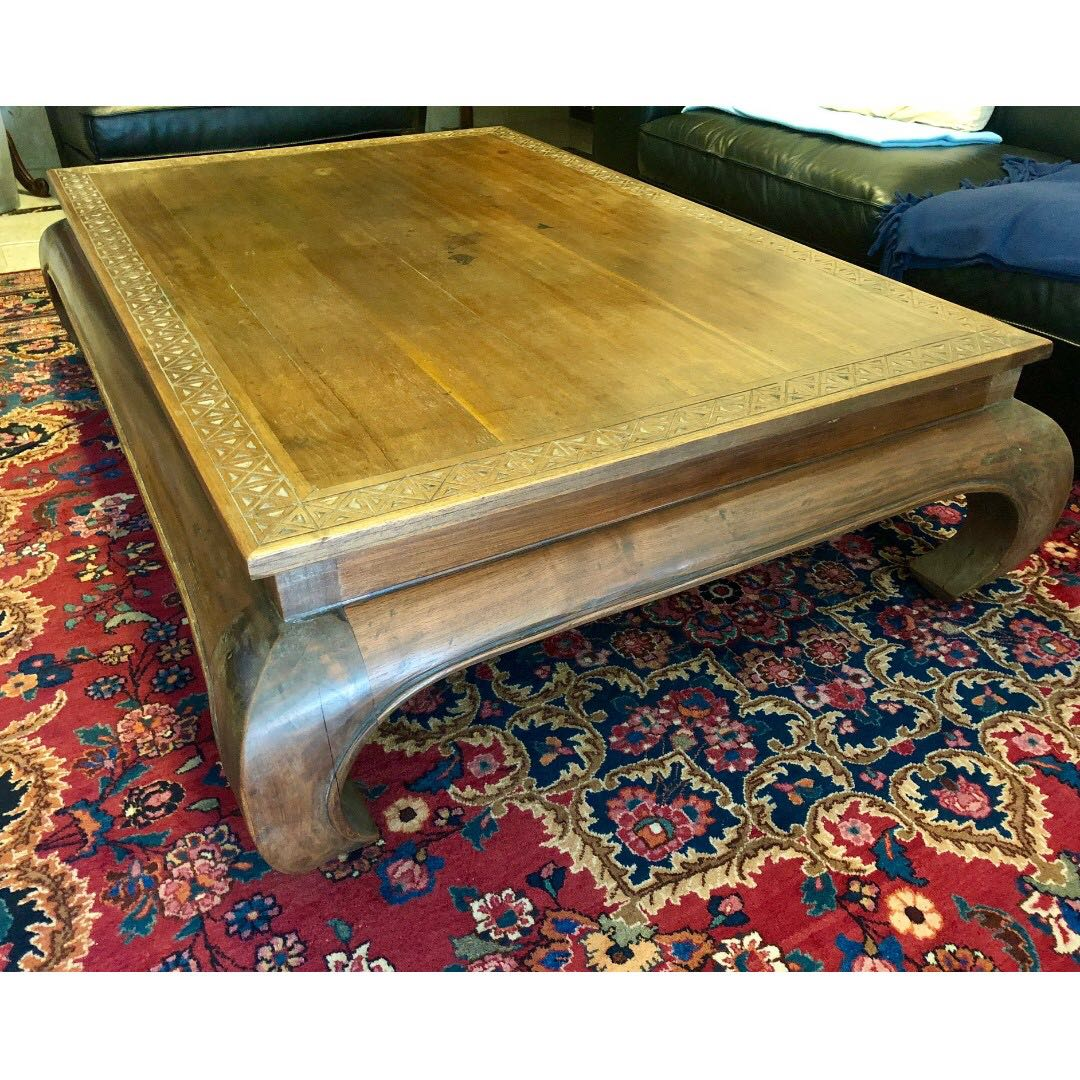 Indonesian Mahogany Solid Wood Large Coffee Table Furniture